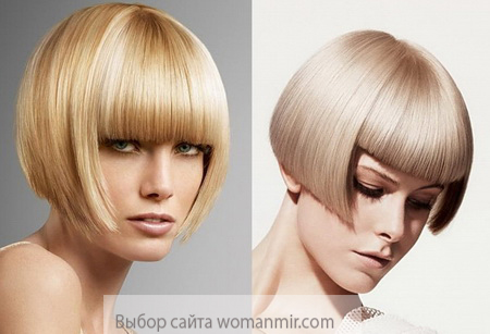 стрижка каре с челкой - блондинки